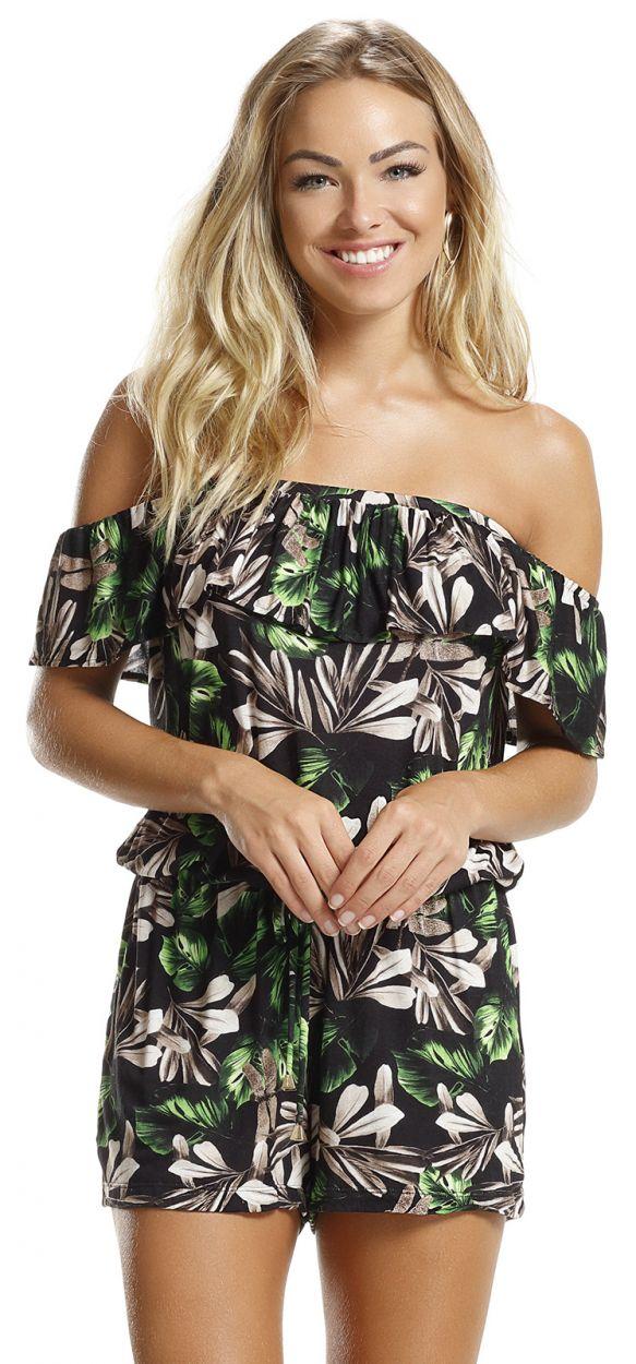 Blommig stranddräkt med Bardot-urringning - TROPICAL NATURE