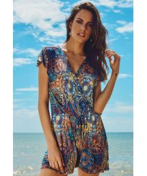 Dark blue printed beach playsuit - DUNAS CARMEL BEACH