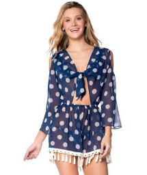 Navy romper in with polka dots with crochet - ROMPER NAVY POLKA