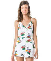 White textured romper in tropical print - MACAQUINHO PITAYA