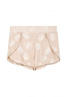 Nude beach shorts with embroidered flowers - AZUR NUDE