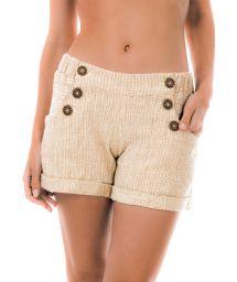 Cottom beach shorts with pockets - SHORT NATUREZA BEGE