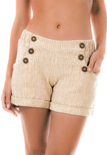 Cottom beach shorts with pockets - SHORT NATUREZA BEGE