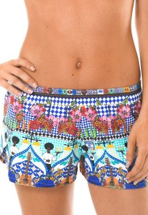 Light beach shorts with colourful print - BARES REMO