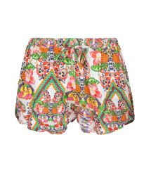 Tropical fruit print beach shorts - GUARANA LEAF
