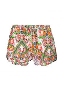 Tropical fruit print beach shorts - GUARANA LEAF