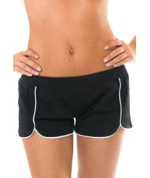 Beach shorts with contrasting white piping - SHORT BODYBOARD PRETO