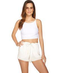 Portfolio style ecru beach shorts - VIAGEM LEVE
