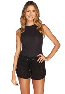 Black beach shorts with an openwork elastic belt - VIAGEM RENDA