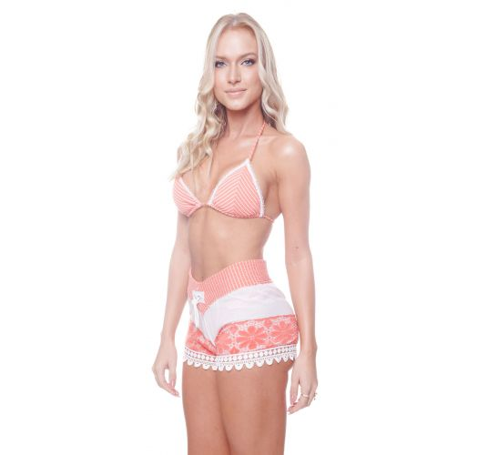 Luxurious coral and white beach shorts - GRACE SHORT RIBBED CORAL