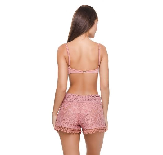 Luxurious pink lace beach shorts - LACE SHORT ROSE GOLD