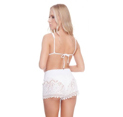 Luxurious white lace beach shorts - LACE SHORT WHITE