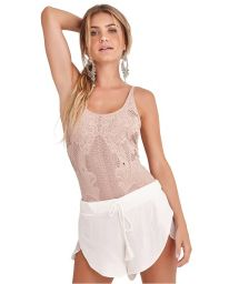 White loose beach shorts with pompons - SHORT BARBARA