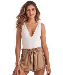 Dark beige high waist ruffeled shorts - SHORT RUFFLE BEIGE