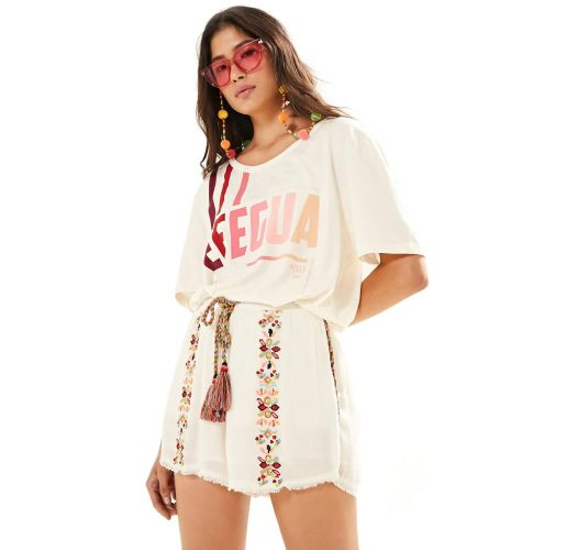 Ecru shorts with ethnic embroidery  - SHORT BORDADO