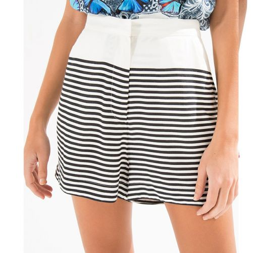 High-waisted shorts, narrow horizontal stripes - SHORT LISTRA LILIO