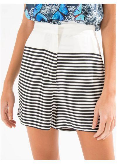 High-waisted shorts, narrow horizontalstripes - SHORT LISTRA LILIO