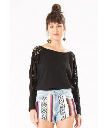 Ethnic jeans shorts with embroidered stripes - SHORT LISTRADINHO