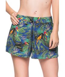 Colorful tropical beach short - BOTTOM BABADO ARARA AZUL