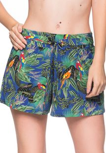 Short de plage tropical coloré - BOTTOM BABADO ARARA AZUL