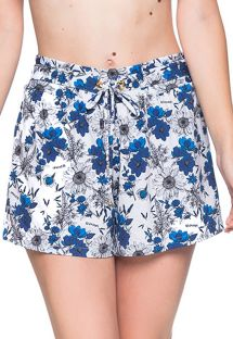 Floral blue beach short - BOTTOM BABADO ATOBA