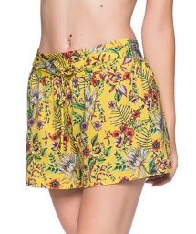 Yellow floral beach short - BOTTOM BABADO DREAM AMARELA