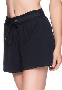 Black beach short - BOTTOM BABADO PRETO