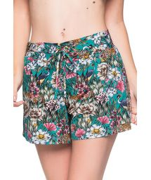 Green floral beach shorts - BOTTOM BABADO TROPICAL GARDEN