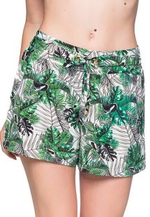 Green foliage beach short - BOTTOM BABADO VIUVINHA