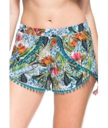 Floral beach shorts with pompons - BOTTOM CASTANHA DO PARA