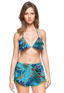 Blue printed beach shorts with green tassels - SHORT ALTO ASTRAL