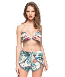 White tropical printed shorts with blue pompons - SHORT FLAMBOYANT