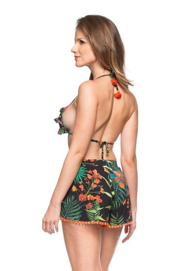 Loose shorts with tropical print and orange pompons - SHORT VIANA