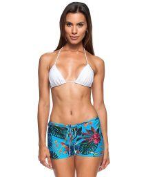 Tropical blue beach mini shorts - SHORTINHO ILHABELA