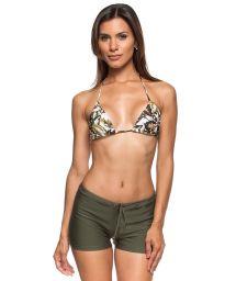 Waist-tied khaki beach mini shorts - SHORTINHO MILITAR