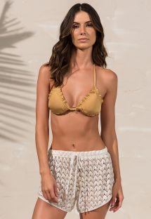 Pantaloncini da spiaggia beige dorato con guipure traforate - SHORT LESIE