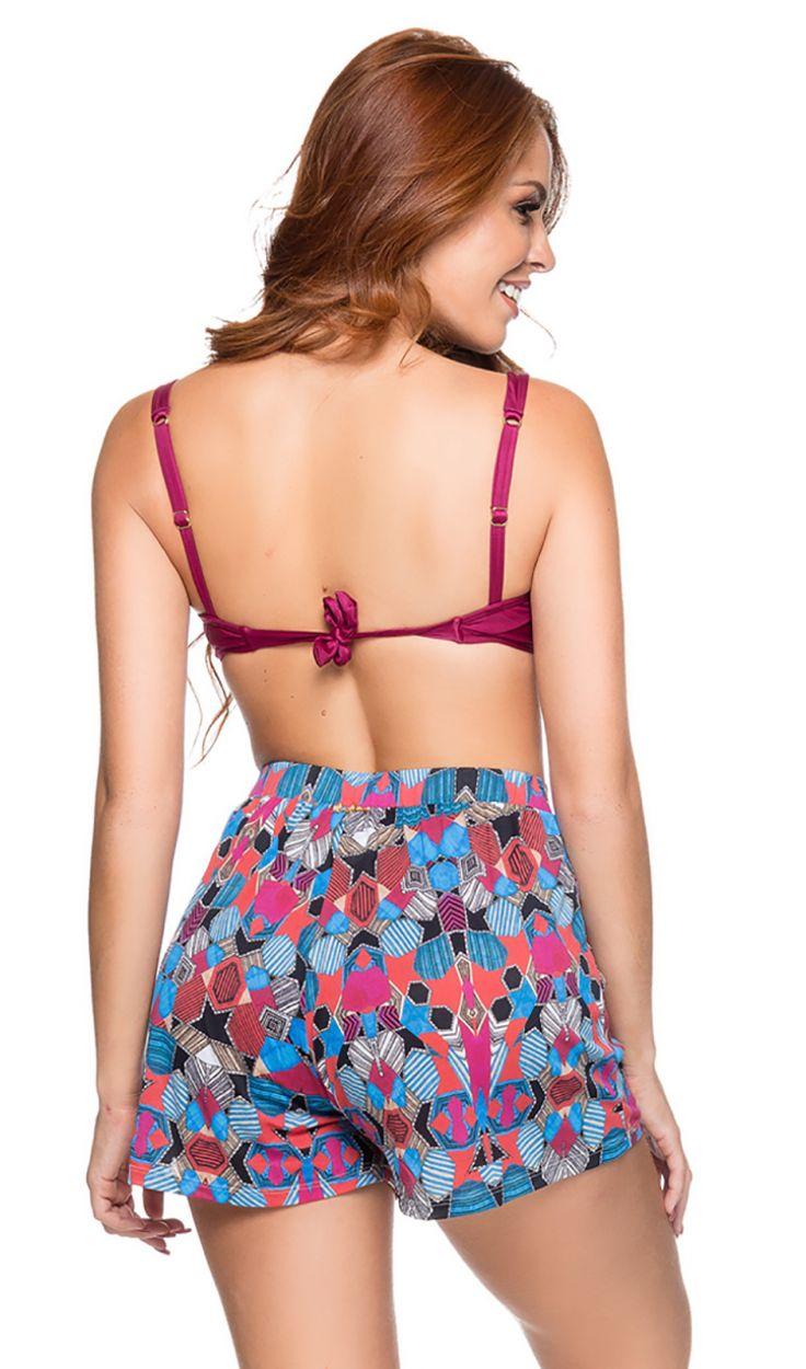 Farbenfrohe hochtaillierte Shorts - ESTAMPADO ART DECO