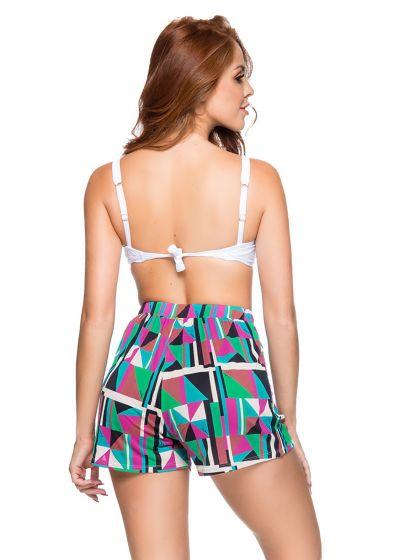 High-waist shorts in colorful geometric print - ESTAMPADO DELAUNAY