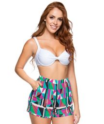 High-waist shorts in colorful geometric print - ESTAMPADO DELAUNAY