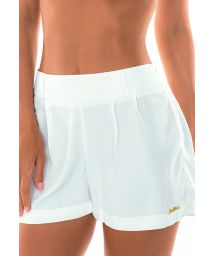 High-waist white beach shorts - SHORT OFF WHITE