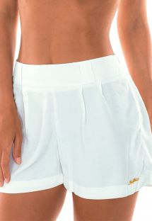 High-waist white beach shorts - SHORT OFF WHITE