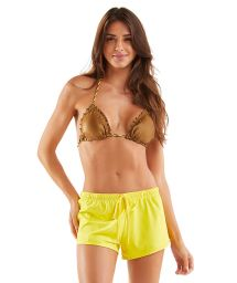 Yellow beach shorts with elastic waist - SHORT RICO AMARELO