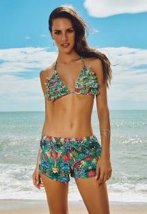 Light multicoloured tropical beach shorts - SHORT HERMOSA