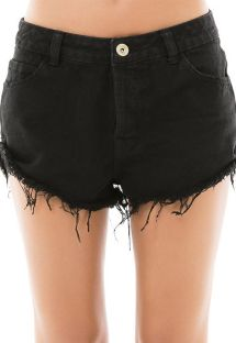 Black frayed denim shorts - SHORT BLACK