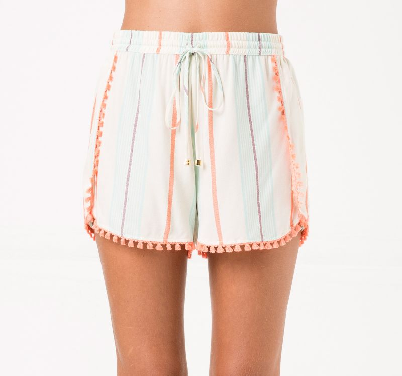 Beach shorts with orange pompoms and stripes - SHORT YORK