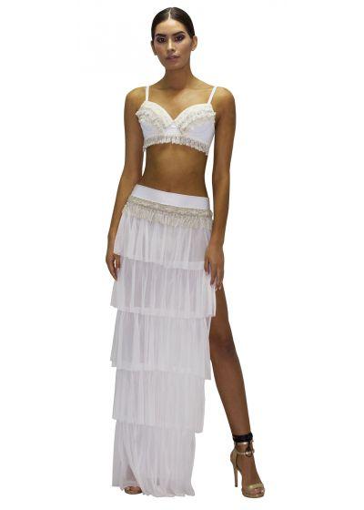 Long slit white skirt with ruffles - SAIA JUNGA NATURAL