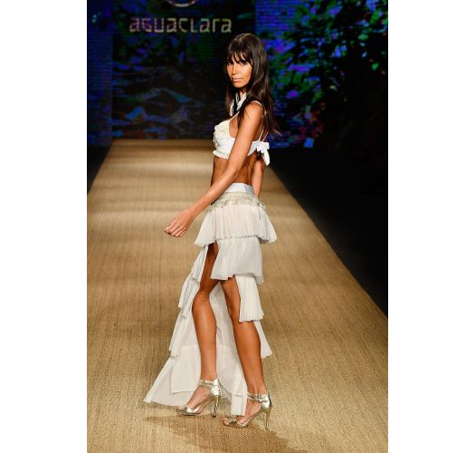Long slit white skirt with ruffles - SAIA JUNGA NATURAL