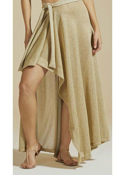 Luxurious gold beach skirt with lurex - BOTTOM LUZ-MESCLA CLARO