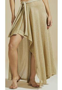 Luksusowa złota spódnica plażowa z lureksem - BOTTOM LUZ-MESCLA CLARO