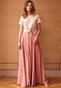 Lang kjole med knapper i rosa med gulldetaljer - JUNE BLUSH
